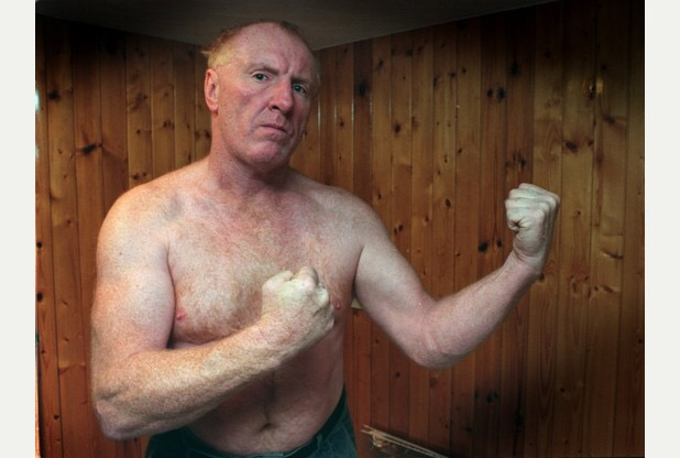 "Pictured is Bare Knuckle fighter, Bartley Gorman ""King of the Gypsies"" who is seen back in trainig for his final fight after being champion for 25 years. Bartley, 53 of Uttoxeter was due to fight Mr Francis a  33 year old geordie, but the police heard about the illeagal fight and cancelled it."